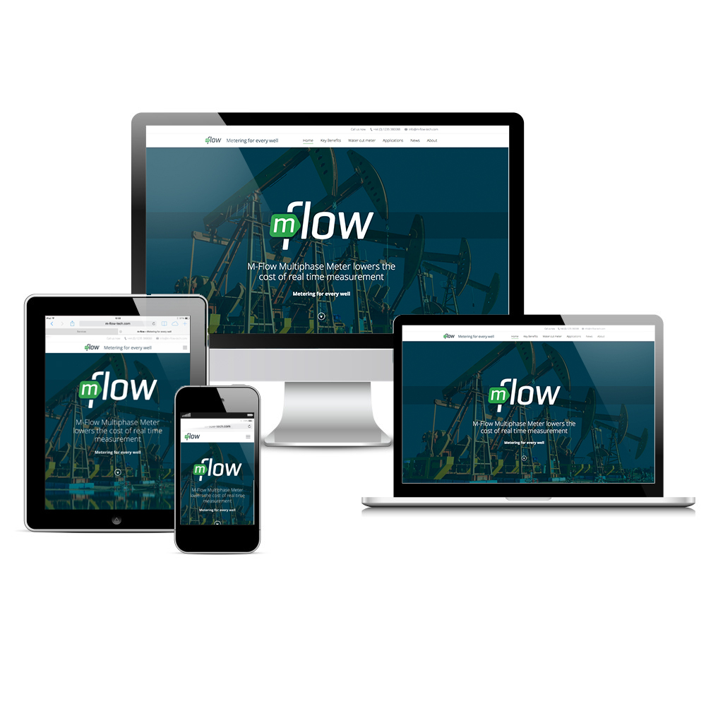 Visual of responsive web design for M-Flow Technologies